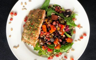 Roasted Root Vegetable and Salmon Salad with Mixed Greens
