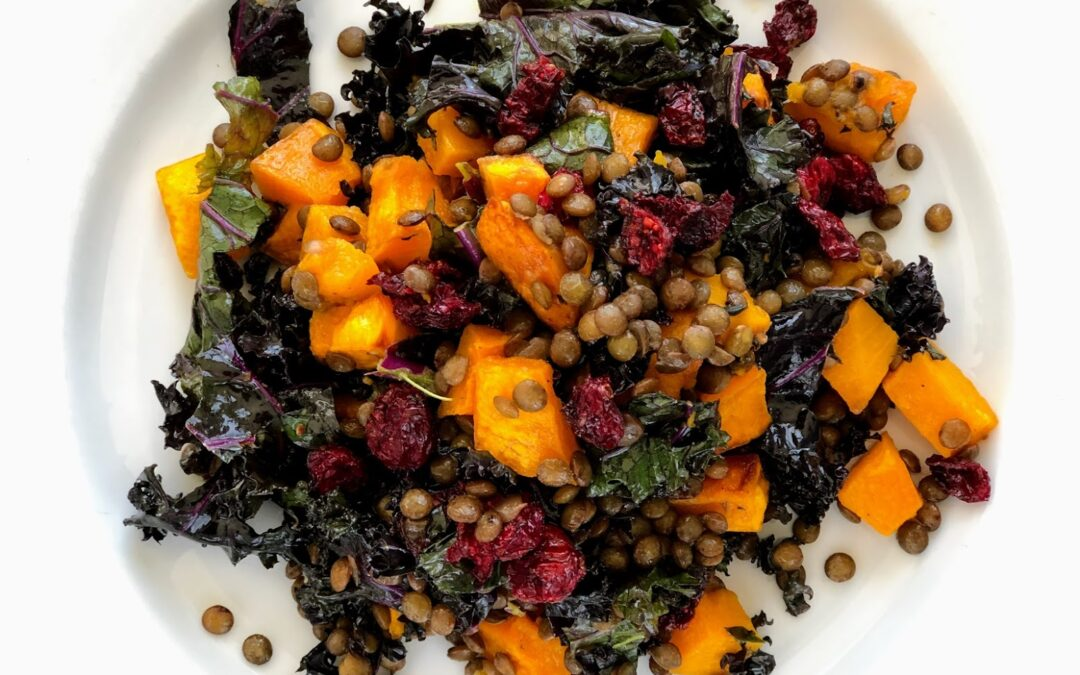 Lentil, Squash and Kale Salad with Thyme, Cranberries and White Balsamic Dressing