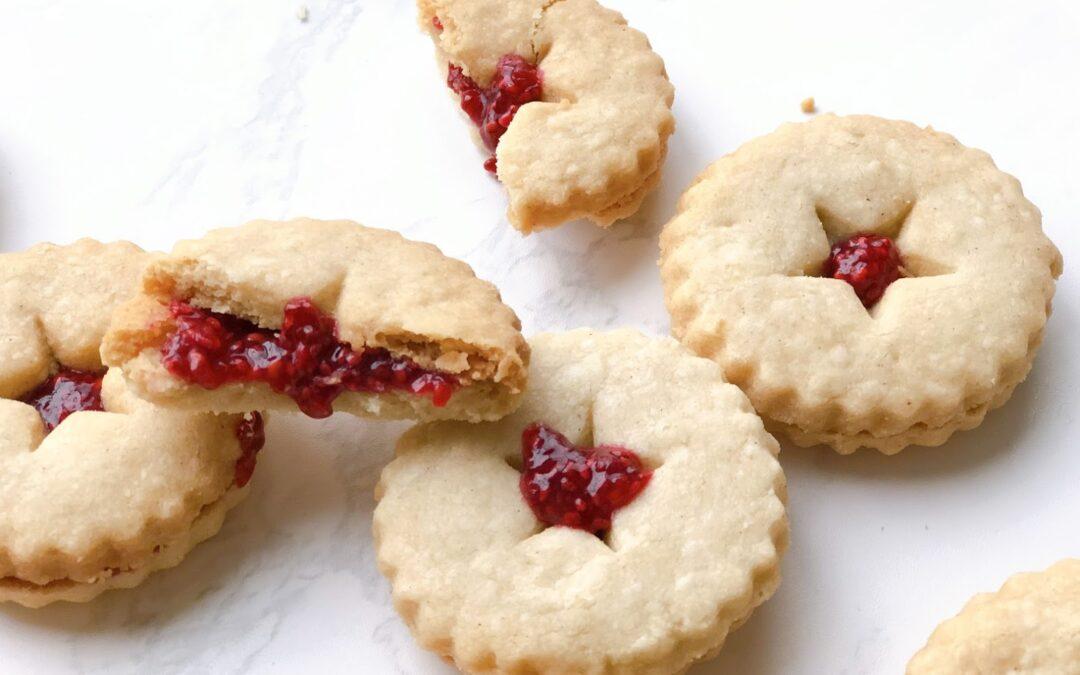 Raspberry Chia Linzer Cookies