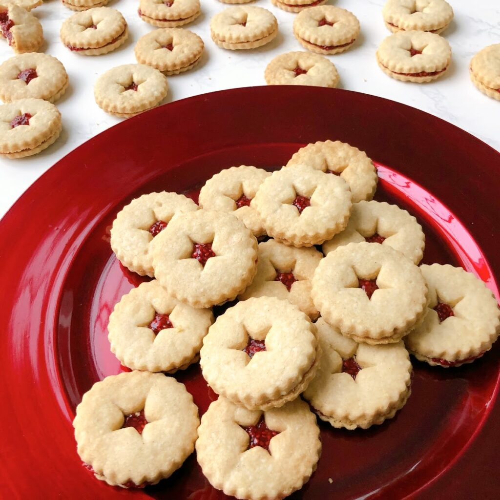 raspberry chia linzer cookies