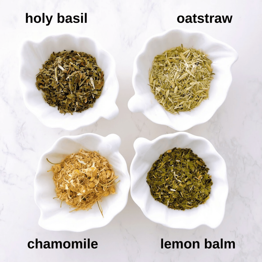 Holy basil, oatstraw, chamomile and lemon balm herbs.