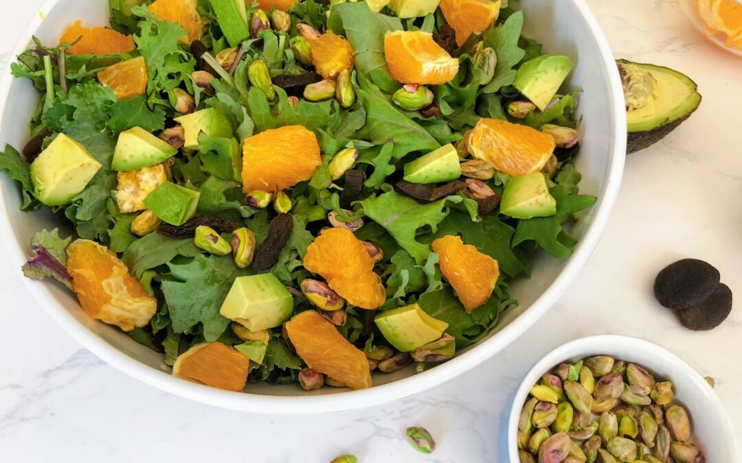 Baby Kale Salad with Pistachios and Dried Apricots