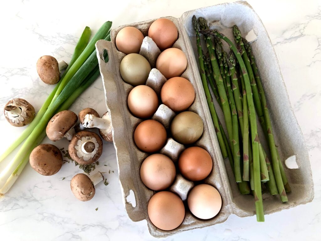 mushrooms, green onions, eggs and asparagus for frittata