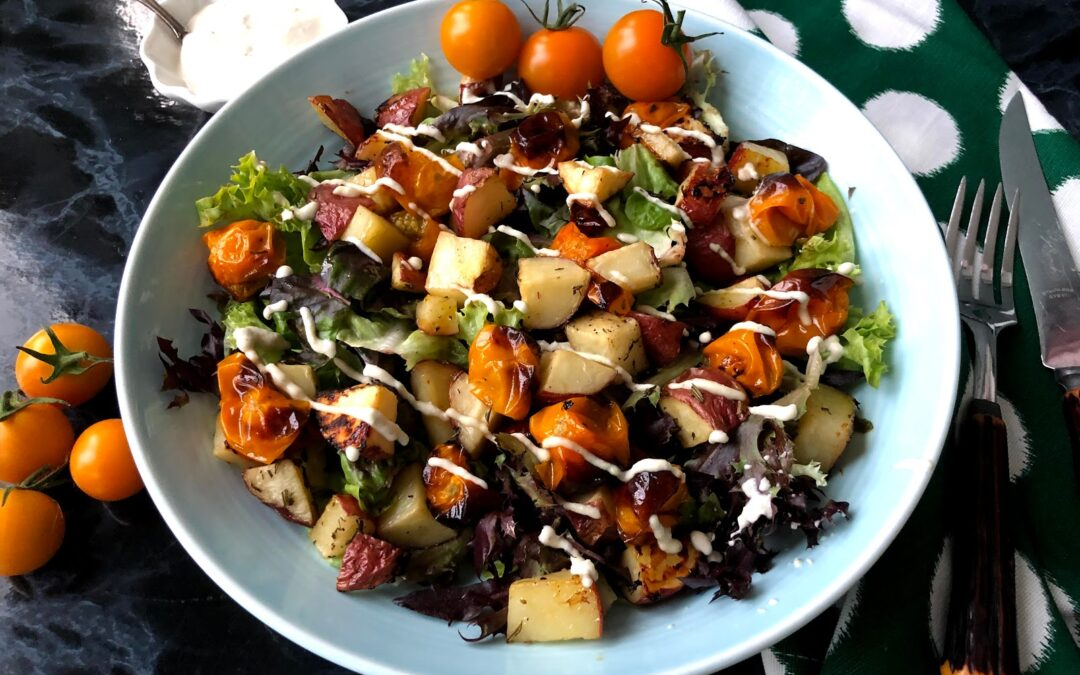 Roasted Tomato and Potato Salad with Rosemary Cashew Dressing
