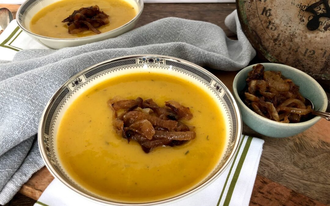 Roasted Butternut Squash Soup with Caramelized Onions
